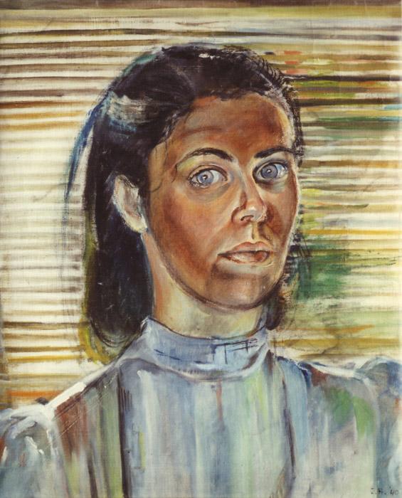 Zelfportret (Indië) 1940 - olie/doek- 57x46 cm - E.R. '40; rechtsonder. Dit zelfportret schilderde Elisabeth Rietveld in 1940 in Batavia. Naar verluidt duurde het even voor zij daar weer aan het werk ging: ze moest wennen aan het 'andere' licht. Er zijn maar enkele werken uit de Indische periode van vóór het kamp bewaard gebleven; het is niet bekend hoe dit portret bewaard is gebleven.