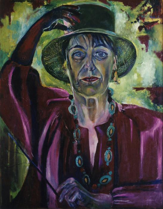Zelfportret 1981, met hoed - acryl/hout 85x68 cm - EER 1981; rechtsonder