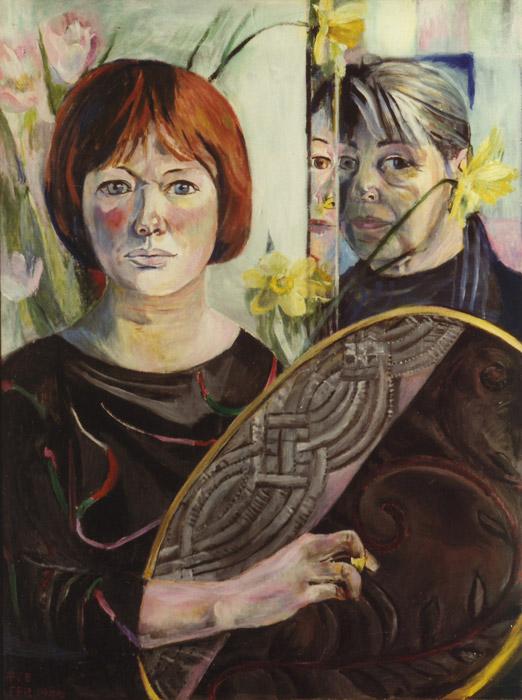 Vrouwkje met zelfportret in spiegel - acryl/masonite, 80x60 cm - EER Feb. 1988; linksonder
