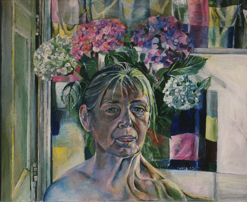 Zelfportret - cm - E. Eskes-Rietveld 1990; rechtsmiddenonder