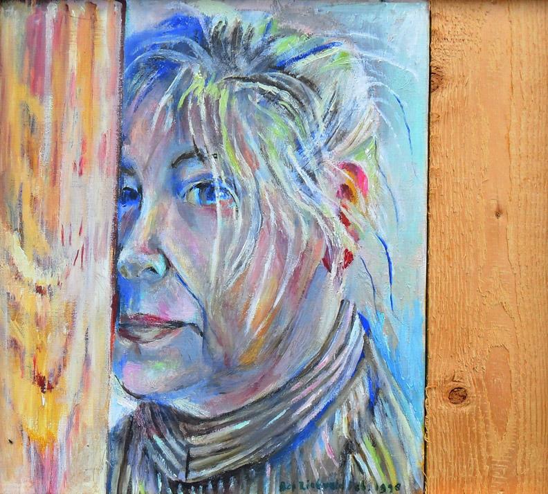 Tussen 2 plankjes of bijna het hoekje om - olieverf/doek; 34 x 37,5 cm - Bep Rietveld feb. 1998; rechtsonder