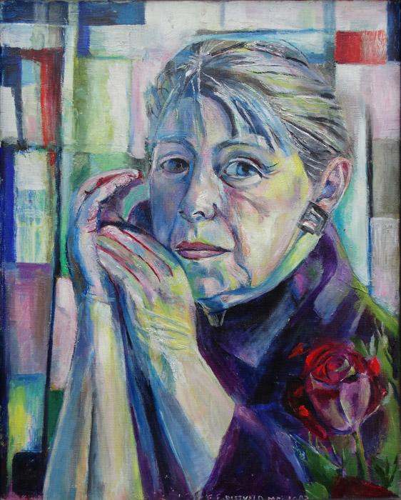 Zelfportret mei 1993 - acryl/doek, 39x49.5 cm - E.E.RIETVELD MEI 1993; rechtsonder
