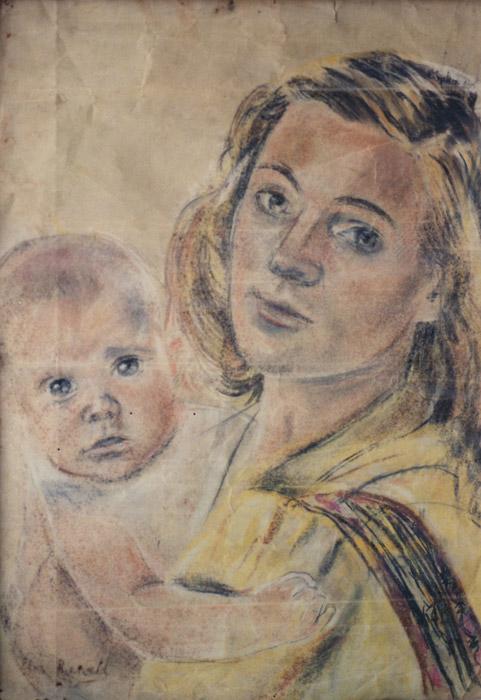 Margaretha met Marjan - pastel 50x37 cm - Elis. Rietveld 1943; linksonder