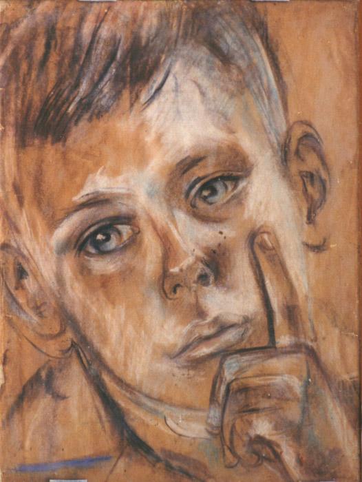 Fons Seyler 11 jaar (2-9-1944) Dag voor het transport naar het mannenkamp (Indië) - pastel 32x24 cm; ongesigneerd. Fons was bijna twaalf jaar toen hij op 3 september 1944 met 243 'oude mannen' en andere jongetjes van 10 jaar en ouder van Kramat (Batavia) werd afgevoerd, eerst naar Grogol (een voormalig krankzinnigengesticht iets buiten Batavia) en daarna naar kamp Baros in Tjimahi. Bep tekende de dag voor het vertrek nog zijn portret; toen de vrachtwagen met de jongens wegreed, rende zij er als een furie achteraan.