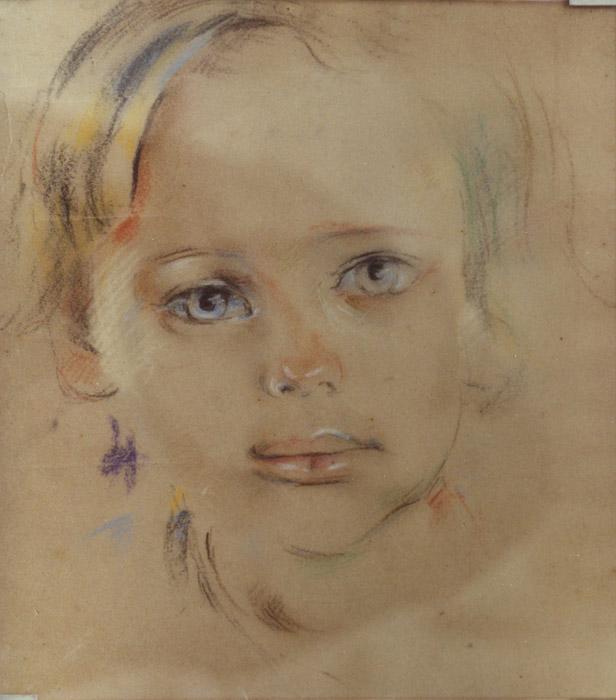 Vrouwkje in het kamp - pastel, potlood 23.5x21.5 cm; ongesigneerd ongedateerd. Dit portret van haar dochtertje Vrouwkje heeft Bep waarschijnlijk eind 1943, begin 1944 in het kamp Kramat (Batavia) gemaakt.