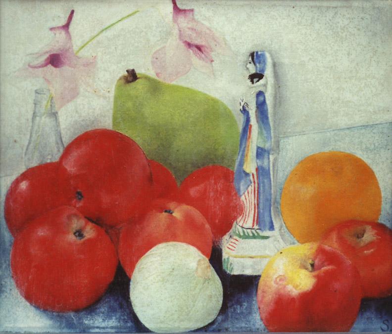 Fruit, bloemen  en beeldje - olie/doek24x28 cm - S. (E. Seyler- Rietveld, Utrecht 1933);