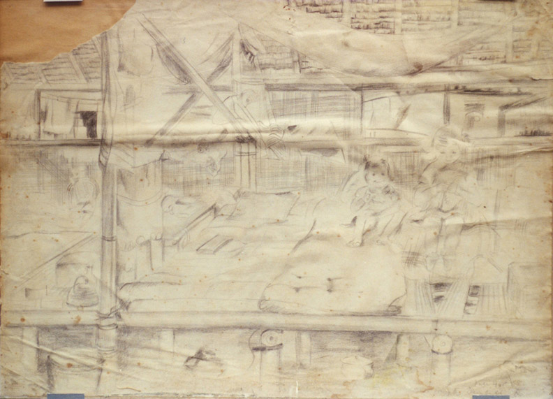 Kinderen in Jappenkamp - potlood/papier 26x36 cm - Elisabeth R. juli 1945; rechtsonder. Deze schets met dochtertjes Elsie en Vrouwkje is gemaakt in de tijd dat de omstandigheden in de kampen onhoudbaar, uitzichtloos werden. Duidelijk te zien op de tekening zijn de barakken van bamboe en atap, een dakbedekking van gedroogde palmbladeren.