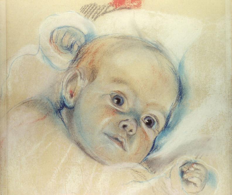 Baby Martientje Eskes (1948) - pastel 33x33 cm - ongesigneerd