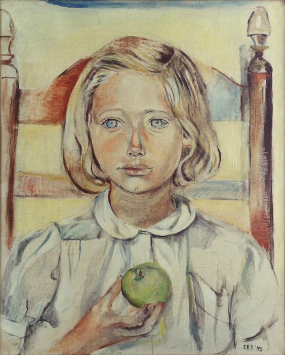 Vrouwkje met appel - olie/doek 50x40.5 cm - EER '49; rechtsonder
