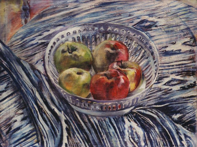 Schaal met appels op Kain - olie/doek 34.5x45 cm - ER Batavia '41; rechtsonder