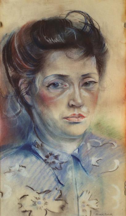 Mevrouw Stuyling de Lange - pastel 53x29.5 cm - Elisabeth Rietveld novembr 1950; rechtsonder