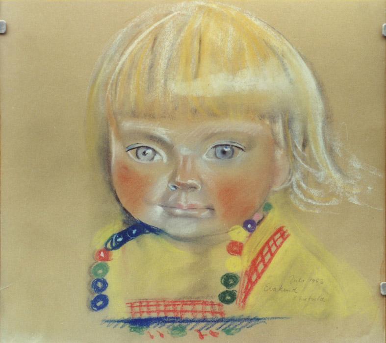 Eva kind - pastel 38x38 cm - Juli 1952 Eva kind E. Rietveld; rechtsonder