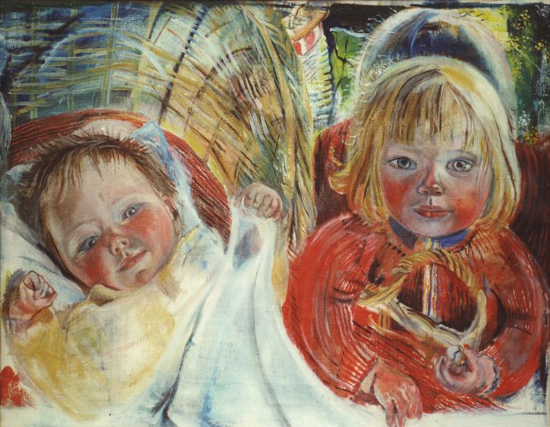 Eva en Elisabeth in wieg - olie/doek 50x64.5 cm - ongesigneerd (1951)