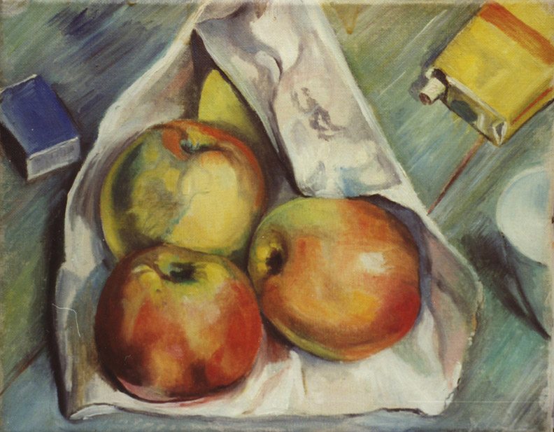 Drie appels op papieren zak, pakje sigaretten en lucifers - olie/doek 24x30 cm - E.E.R. jan. 1948; achterzijde