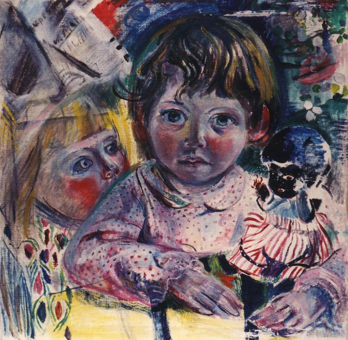 Jara Brusse met Eva Eskes - olie/doek 50x50 cm - Bep Eskes '52; rechtsonder