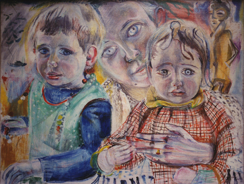 Marijke Ferguson met haar kinderen - olie/doek 50x65 cm - E.E.R. voorjaar 1954; rechtsonder