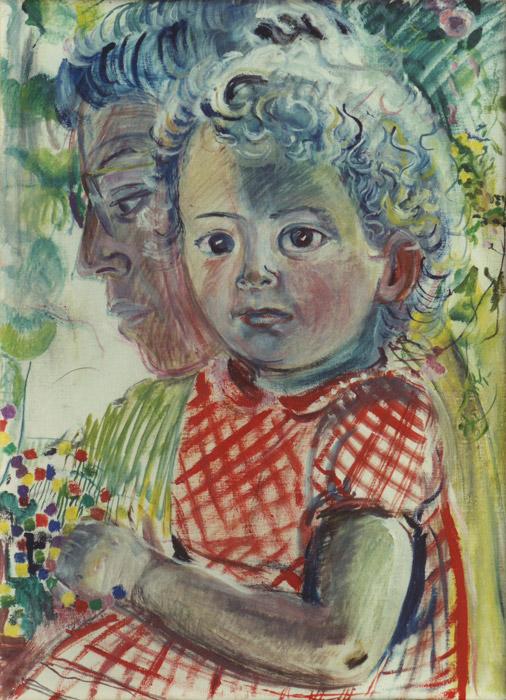 Lieske van Hall met Loeske - olie/doek 58x42.5 cm - ongesigneerd (± 1954)