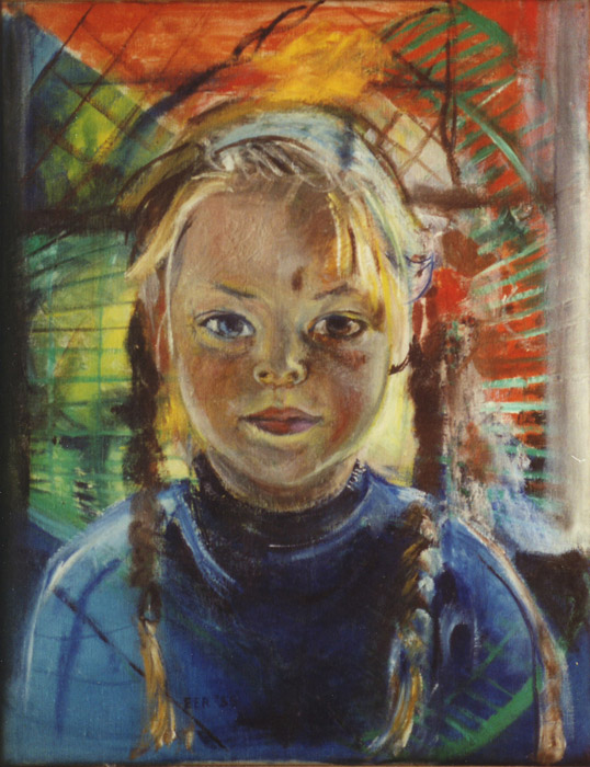Elisabeth Eskes met vlechtjes - olie/doek 44.5x35 cm - EER '55; middenonder