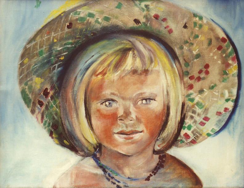 Eva Eskes met hoed op de boot - olie/doek 35x45 cm - ongesigneerd ongeateerd (± zomer 1955 à 1956)
