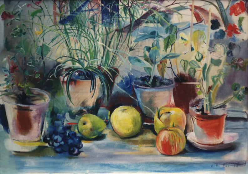 Bloempotten en fruit - olie/doek 49x69 cm - E.R. Dec. 52; rechtsonder