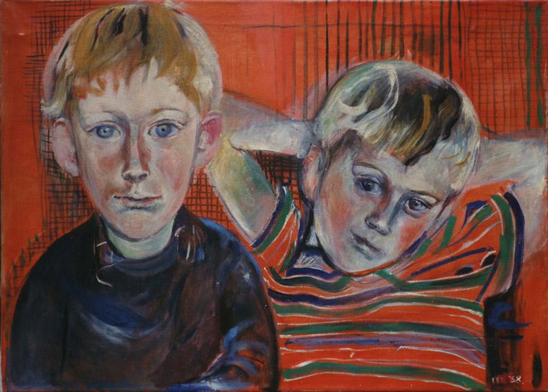 Hans en Gert Rietveld - olie/doek 50x70 cm - E.E.R. '58; rechtsonder