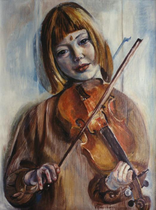 Elisabeth Eskes met viool - olie/doek 64x49 cm - E. Eskes-Rietveld 1958; rechtsonder