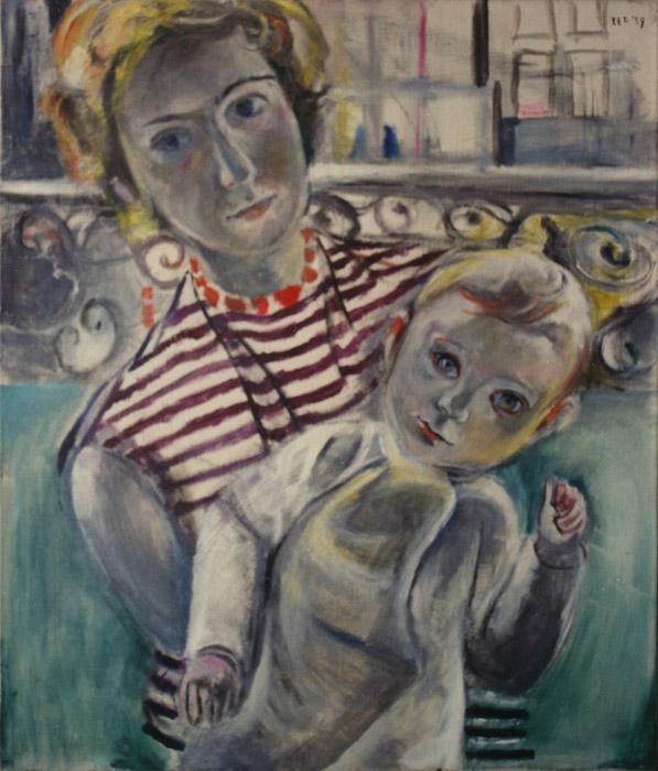 Paula Rietveld met baby - olie/doek 70x60 cm - EER '57; rechtsboven