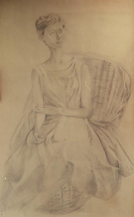 Vrouwkje op rieten stoel - tekening 69.5x65.5 cm - B.E. 48-49 (58-59 moet het zijn); middenonder