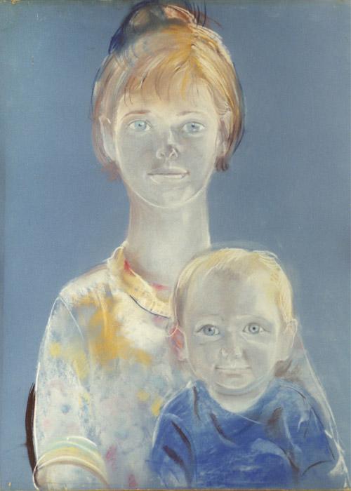 Vrouwkje met Ellen - pastel 65x50 cm - ongesigneerd ongedateerd (waarschijnlijk ± 1966)