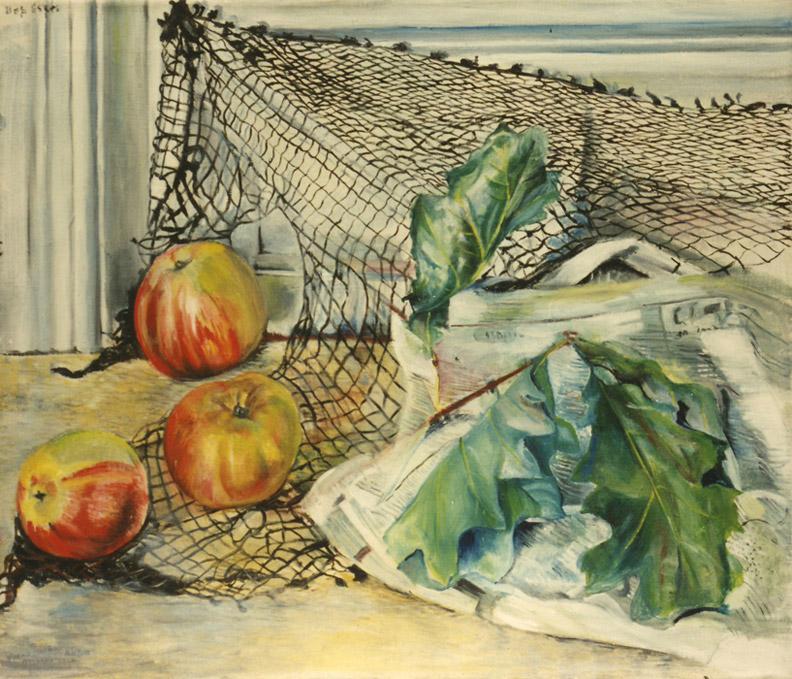 Drie appels, krant en visnet - olie/doek 50x60 cm - Bep Eskes ongedateerd (± 1954); linksboven