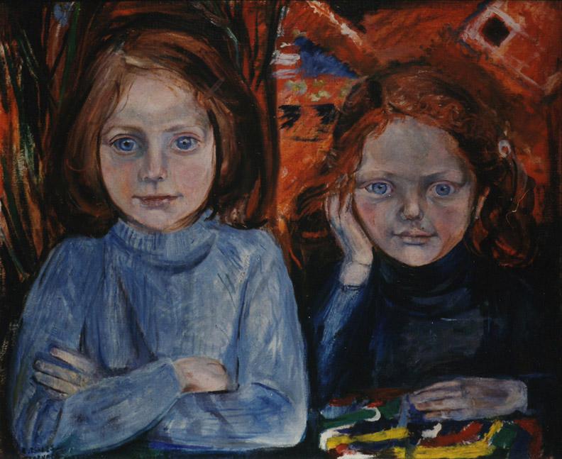 Sanne en Lisette Gabriels - olie/doek 54.5x64 cm -  Sanne Lisette maart 1967 E. Eskes-Rietveld; linksonder