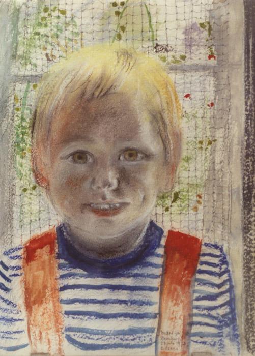 Martijn Bouhuijs - acryl met pastel 40x30 cm - E. Eskes 23 juli 1973; rechtsonder