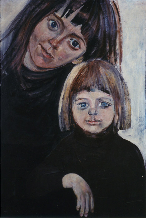 Etty en Tobias Mulder - acryl/karton 75x50.5 cm - Etty Mulder met Tobias e.e. '75; linksonder