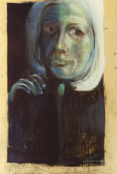Margaretha Ferguson (schets tijdens gesprek - pastel/triplex 60x36 cm - ongesigneerd ongedateerd (± 1975)