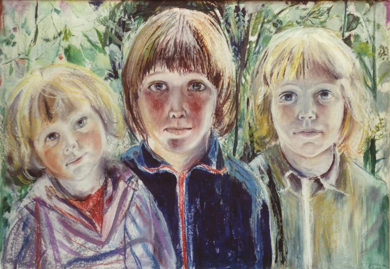 Lars, Tijs en Elisabeth Korpershoek - pastel en acryl 70x100 cm - E. Eskes, juli '78; rechtsonder