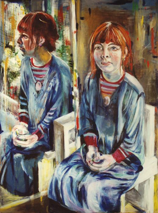 Margit Willems - acryl en olieverf/hout 122x91 cm - E. Eskes Dec. '78; rechtsboven