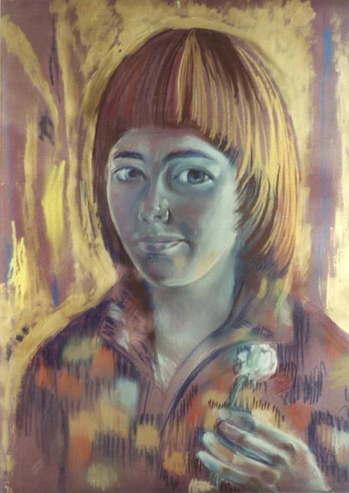 Elisabeth tegen goudgeverfde muur - pastel - 64x49 cm - ongesigneerd (± 1978)