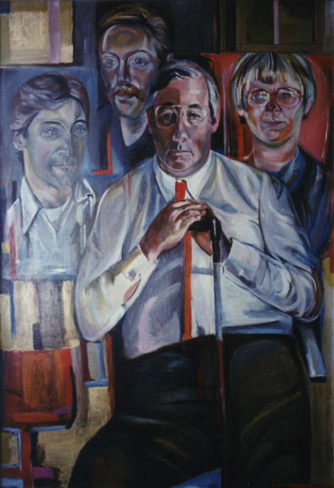 Wim Rietveld met familie - acryl/hout 151x106 cm - E. Eskes-Rietveld okt. 1979; linksonder