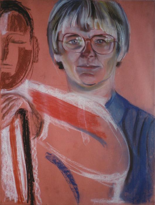 Nel Rietveld-Bol (schets voor familieportret) - pastel 65x49 cm - E.E.R. oct. 1979; linksonder