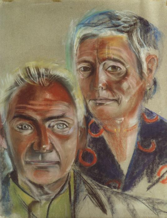 Wilhelmina en Chris Schouten - pastel 64x49 cm - E. Eskes-Rietveld 1979; rechtsonder