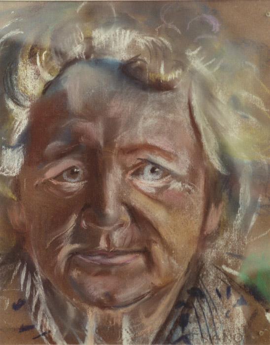 Mevrouw G. Bouhuijs-Honingh - pastel 30x30 cm - 1980 E. Eskes-Rietveld; op achterzijde
