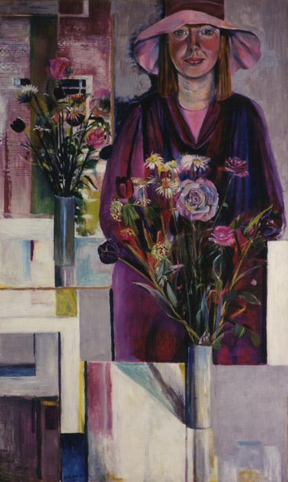 Elisabeth met Steltmanstoel, hoed en bloemen - acryl/masonite 140x85 - EER mei '81, linksonder