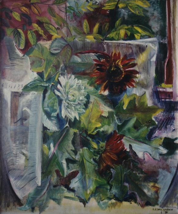 Bloemen en krant - olie/doek 50x60 cm - E. Eskes-Rietveld (+- '56); rechtsonder