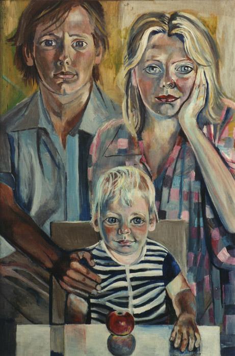 Willem Jan Otten met gezin - acryl/masonite 89.5x60 - E. Eskes-Rietveld zomer 1982, rechtsonder