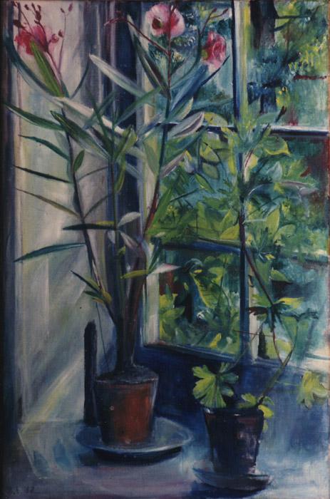 Oleander voor raam - olie/doek 60x40.5 - B.E. '58; linksonder