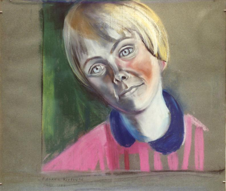 Madeleine Rietra - pastel 44x50 cm - E. Eskes-Rietveld juni 1982; linksonder