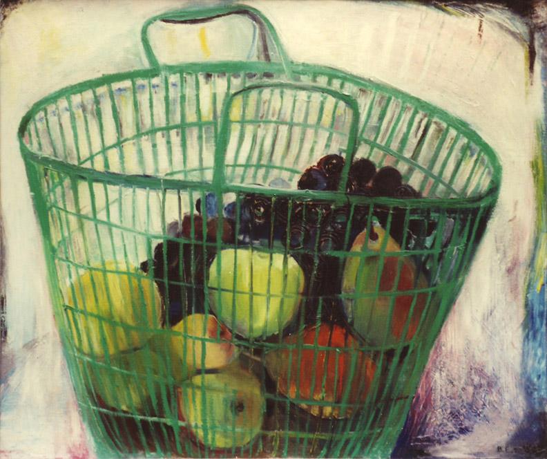 Groene plastic tas met fruit - olie/doek 50x60 cm - B.E.R. '59; rechtsonder