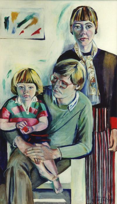 Kees, Elisabeth en Irene van der Plas - acryl/masonite 1.39x79 - El. Eskes-Rietveld zomer 1984; rechtsonder