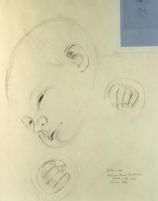 Schets voor geboortekaartje Reinier Anne Christiaan 4 mei 1984 - potloodtekening 23.5x29.5 cm - 5 mei 1984 Reinier Anne Christiaan geboren 4 mei 1984 schetsje E.E.R.; rechtsonder