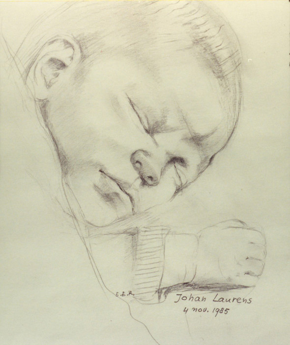 Schets voor gboortekaartje Johan Laurens 4 november 1985 - potloodtekening 20x26 cm - EER; middenonder